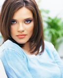 Close up face portrait of young beautiul woman. Casual clothes Royalty Free Stock Photography