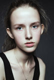 Close-up face portrait of young woman without make-up. Natural i Stock Photos