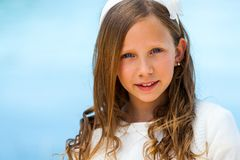 Close up face shot of communion girl. Stock Images
