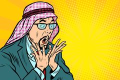 Close-up, face surprise, delight Arab businessman Royalty Free Stock Images
