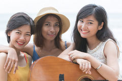 Close up face of three style thai asian woman friend with happin Stock Photography
