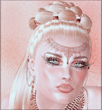 Close up face of a woman with beautiful cosmetics and jewels. Royalty Free Stock Images