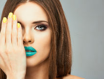 Close up face woman model in beauty Royalty Free Stock Image