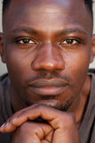 Close up face of young african man Stock Photo