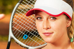 Close-up with face of young and beautiful woman tennis player Royalty Free Stock Photography