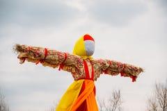 Close-Up Faceless Straw Effigy Of Dummy Maslenitsa, Eastern Slavic Mythology, Pagan Tradition. Close-Up Straw Effigy Of Dummy Of Maslenitsa, Symbol Of Winter Stock Photos