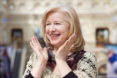 Close up facial portrait of a beautiful senior woman Royalty Free Stock Image