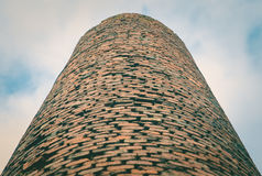 Close-up of factory brick chimney. Air Pollution by Industrial Emissions Royalty Free Stock Image