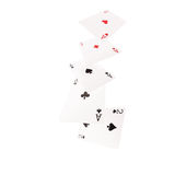 Close up of falling playing cards. Four of kind Royalty Free Stock Image