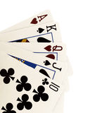 Close up of falling playing cards poker game on white background. Royalty Free Stock Image