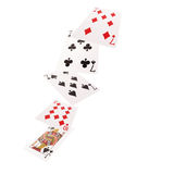 Close up of falling playing cards. Three of kind Royalty Free Stock Photo