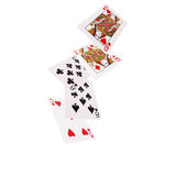 Close up of falling playing cards. Two pair Royalty Free Stock Photography