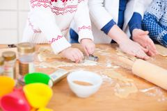 Close up of family baking Royalty Free Stock Photography