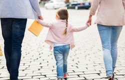 Close up of family with child shopping in city Royalty Free Stock Photos