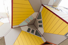 Close up of famous cube Houses in Rotterdam, The Netherlands. Rotterdam, The Netherlands - March 27, 2017: Famous cube houses designed by Piet Blom in Rotterdam stock images