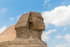 Close-up of a famous Egyptian Sphinx in Egypt stock photography