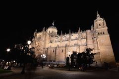 Close-up of famous Salamanca cathedral at night Stock Photos