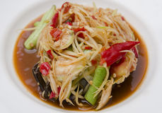 Close-up Famous Thai food, papaya salad. Or what we called Somtum in Thai royalty free stock photography