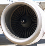 Close up of the fan blades inside a jet engine Stock Photo