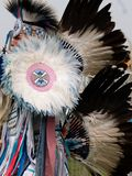Close Up of Fancy Dancer at Pow Wow with Feather Headdress and Bustle stock photos