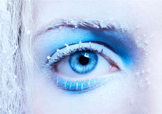 Close-up of fantasy make-up. Close-up portrait of beautiful girl's eye-zone fantasy snow make-up royalty free stock photography
