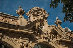 """Close-up of the far-fetched building decoration in a sunny day at the Champs-Elysees in Paris. Known as the """"City of Light"""", is one of the most impressive Stock Images"""