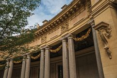 """Close-up of the far-fetched decoration of arch and columns at the Petit Palais courtyard in Paris. Known as the """"City of Light"""", is one of the most Stock Image"""