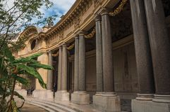 """Close-up of the far-fetched decoration of arch and columns at the Petit Palais courtyard in Paris. Known as the """"City of Light"""", is one of the most Stock Photo"""