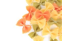 Close up of the farfalle pasta three colors. Stock Image
