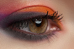 Close-up of fashion eyes make-up, bright eyeshadow Royalty Free Stock Photo