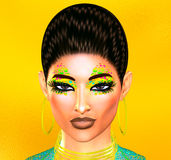 Close up fashion hair and face of woman. Colorful pop art image of a woman`s face. This is a digital art image of a close up woman`s face in pop art style. A Stock Photo