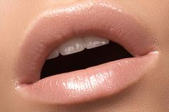 Close-up fashion lip with tender gloss make-up. Natural lips Stock Photos