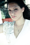 Close-up of fashion model. Stylish woman posing in front of camera Royalty Free Stock Photos