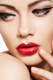 Close-up fashion model face, glamour lips make-up