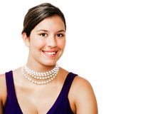 Close-up of fashion model smiling. Close-up of a fashion model smiling isolated over white Stock Photography