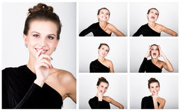 Close-up fashion photo young lady in elegant black dress, playful woman expresses different emotions Stock Photos