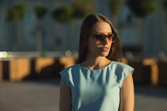 Close up fashion portait of business woman outdoor. royalty free stock image