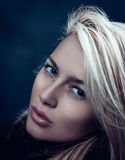 Close-up fashion portrait of an attractive blonde woman Royalty Free Stock Photo