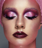 Close-up fashion portrait of a girl with pink color make Royalty Free Stock Images