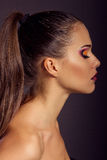 Close up fashion portrait. Model shooting. Makeup and hairstyle Stock Photography