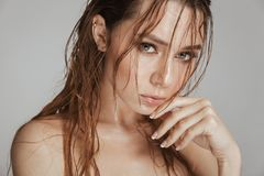 Close up fashion portrait of a topless seductive woman. With makeup and wet hair posing isolated over gray background stock photography