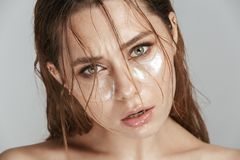 Close up fashion portrait of a topless young woman Stock Photos