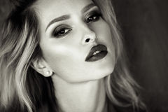 Close up fashion woman model portrait black and white.  Royalty Free Stock Image