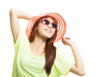 Close-up of fashionable young woman. Over white background stock photography