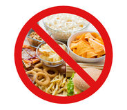 Close up of fast food snacks behind no symbol Royalty Free Stock Photography