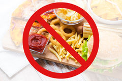 Close up of fast food snacks behind no symbol Royalty Free Stock Image