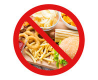 Close up of fast food snacks behind no symbol Stock Photography