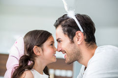 Close-up of father and daughter in fairy costume Royalty Free Stock Photos