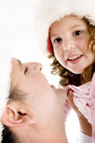 Close up of father and girl Stock Images