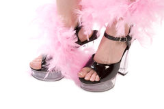 Close up feather shoe. A close up of a woman wearing her black high heels with clear bottoms with a pink feathers wrapped around her feet and legs royalty free stock images